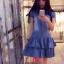 (เด็กโต) Zara Kids ชุดกระโปรงยีนส์ฟอก กระดุมไม้ แขนกระปุก ระบาย 2 ชั้น (made in korea) size 13-17 ( 8-15 ปี) thumbnail 1