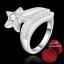 ฟรีกล่องแหวน R897 แแหวนเพชรCZปลายเปิด ตัวเรือนเคลือบเงิน 925 หัวแหวนรูปดาวแต่งเพชร ขนาดแหวนเบอร์ 8 thumbnail 1