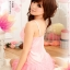 2in1 Sexy Princess Pink Dress ชุดนอนเซ็กซี่ผ้ามันลื่นสีชมพูแต่งโบว์ที่อก ระบายชาย พร้อมจีสตริง thumbnail 3