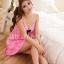 Sexy Princess Dress ชุดนอนเซ็กซี่ผ้ามันลื่นสีแตงโมแต่งลูกไม้อก ชายระบาย สวยหวานน่ารักมาก thumbnail 3