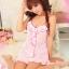 2in1 Sexy Pink Dress Babydoll ชุดนอนเซ็กซี่ผ้ามันลื่นสีชมพูแต่งระบายที่อก ระบายชาย พร้อมจีสตริง thumbnail 1