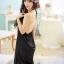 2in1 Sexy Dress ชุดนอนเซ็กซี่ผ้ามันลื่นสีดำแต่งลูกไม้สุดหรู+จีสตริง thumbnail 4