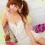 2in1 Sexy Princess Dress ชุดนอนเซ็กซี่ผ้ามันลื่นสีขาวแต่งโบว์ที่อก ระบายชาย พร้อมจีสตริง thumbnail 1
