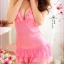 2in1 Sexy Babydoll Pink Dress ชุดนอนเซ็กซี่ผ้ามันลื่นสีชมพูเปิดหลัง ระบายชาย พร้อมจีสตริง thumbnail 2