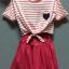 (เด็กโต) ชุดกระโปรงผ้ายืด 2 ชิ้น สีชมพู ด้านในเป็นชุดสายเดี่ยว มีเสื้อคลุมริ้วด้านนอก แยกชิ้นกันค่ะ ไซส์ค่อนข้างใหญ่นะคะ size 140 thumbnail 1