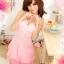 2in1 Sexy Princess Pink Dress ชุดนอนเซ็กซี่ผ้ามันลื่นสีชมพูแต่งโบว์ที่อก ระบายชาย พร้อมจีสตริง thumbnail 1