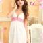 2in1 Sexy Princess Dress ชุดนอนเซ็กซี่ผ้ามันลื่นสีขาวแต่งลูกไม้สีชมพูใต้อก พร้อมจีสตริง thumbnail 2