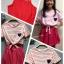 (เด็กโต) ชุดกระโปรงผ้ายืด 2 ชิ้น สีชมพู ด้านในเป็นชุดสายเดี่ยว มีเสื้อคลุมริ้วด้านนอก แยกชิ้นกันค่ะ ไซส์ค่อนข้างใหญ่นะคะ size 140 thumbnail 2