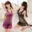 2in1 Sexy Dress ชุดนอนเซ็กซี่ซีทรูสีดำแต่งลูกไม้อกและชาย+จีสตริง thumbnail 4
