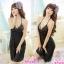 2in1 Sexy Dress ชุดนอนเซ็กซี่ผ้ามันลื่นสีดำแต่งลูกไม้สุดหรู+จีสตริง thumbnail 1