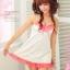 2in1 Sexy Princess Dress ชุดนอนเซ็กซี่ผ้ามันลื่นสีขาวแต่งลูกไม้อก พร้อมจีสตริง thumbnail 2