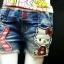 (โต) งานป้ายเกาหลี กางเกงยีนส์ขาสั้นเด็กโต ปะแปะ kitty ยีนส์เนื้อนิ่ม ผ้าดีมาก น้องอ้วนๆ อวบๆ หรือคุณแม่ตัวเล็ก ใส่ได้สบายค่ะ size 25, 27, 29 thumbnail 2