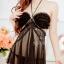 2in1 Sexy Dress ชุดนอนเซ็กซี่ซีทรูสีดำสุดหรูแต่งระบายอก สายคล้องคอ+จีสตริง thumbnail 2