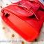 กระเป๋าสะพายข้าง สีแดงสด เย็บเดินลายทั้งใบ ทรงกล่องสีเหลี่ยม thumbnail 2