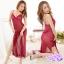 2in1 Sexy Dress ชุดนอนเซ็กซี่ซีทรูสีแดงแต่งลูกไม้อก กระโปรงยาวผ่าข้างสูง thumbnail 1