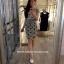 (เด็กโต) เดรสผ้ายืดสีเทา Chanel กระโปรงจุดดำ ผ่าเล็กน้อย ผ้านิ่ม ใส่สบายค่ะ size 13-17 ( 8-15 ปี) thumbnail 1