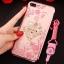 (025-643)เคสมือถือไอโฟน Case iPhone7 Plus/iPhone8 Plus เคสนิ่มลายประดับคริสตัลลายดอกไม้พร้อมแหวนเพชรมือถือและสายคล้องคอถอดแยกได้ thumbnail 14