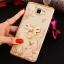 (025-600)เคสมือถือซัมซุง Case Samsung A9 Pro เคสนิ่มขอบแววพื้นหลังลายดอกไม้คริสตัลแหวนโลหะตั้งโทรศัพท์น่ารักๆ thumbnail 2