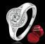 ฟรีกล่องแหวน R887 แหวนเพชรCZ ตัวเรือนเคลือบเงิน 925 หัวแหวนเพชรล้อม ขนาดแหวนเบอร์ 7-8 thumbnail 1