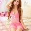 2in1 Sweet Sexy Babydoll ชุดนอนเซ็กซี่ซีทรูสีชมพูแต่งลูกไม้ที่อก ระบายชาย พร้อมจีสตริง สวยหวานน่ารัก thumbnail 6