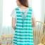 Summer Stripe V-Neck Romper สีเขียวทะเล thumbnail 2