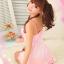2in1 Sexy Pink Dress Babydoll ชุดนอนเซ็กซี่ผ้ามันลื่นสีชมพูแต่งระบายที่อก ระบายชาย พร้อมจีสตริง thumbnail 5