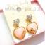 ต่างหูแฟชั่นรูปหัวใจ ประดับเพชรสีส้มโอรส thumbnail 2