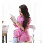 เสื้อแฟชั่นเกาหลี ผ้าชีฟองเบาสบายปักลูกไม้ลายเก๋ๆ เอาไว้ใส่กันแดดช่วงนี้ ก็เข้าดี - ชมพู