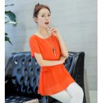 เสื้อชีฟองทรงยาว ผ้านิ่ม เบาสบาย มีสีให้เลือกกันอย่างจุใจ - ส้ม