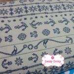 ผ้าคอตตอนลินิน 1/4ม.(50x55ซม.) พื้นสีครีม ลายทางสมอเรือ