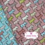 ผ้าคอตตอนลินิน 1/4ม.(50x55ซม.) พื้นสีชมพู ลายสุนัข