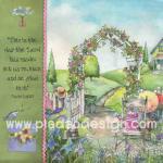 กระดาษอาร์ตพิมพ์ลาย สำหรับทำงาน เดคูพาจ Decoupage แนวภาพ in the room ซุ้มดอกไม้ ประตูรั้วขาว ท่ามกลางสวนสวย ภาพสีหวานหวาน (ปลาดาวดีไซน์) A5