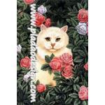 กระดาษสาพิมพ์ลาย สำหรับทำงาน เดคูพาจ Decoupage แนวภาพ แมวสีนวลนั่งอยู่ในดงกุหลาบชมพูไม่มีหนาม A5