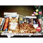 กระดาษสาพิมพ์ลาย สำหรับทำงาน เดคูพาจ Decoupage แนวภาำพ น้องแมวลายสวย นอนหลับตาพริ้ม เชิดๆเริ่ดๆ บนชั้นวางหนังสือ A5