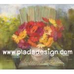 กระดาษสาพิมพ์ลาย สำหรับทำงาน เดคูพาจ Decoupage แนวภาำพ บ้านและสวน ดอกเยียบีร่าสีสด ในแจกันตั้งอยู่บนเก้าอี้ไม้ เป็นภาพแนวภาพวาดสีฟุ้งๆ (ปลาดาวดีไซน์) A5