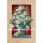 กระดาษสาพิมพ์ลาย สำหรับทำงาน เดคูพาจ Decoupage แนวภาพ ดอกไม้สีขาวในแจกันใบใหญ่มว๊ากกก สไตล์วินเทจ A5