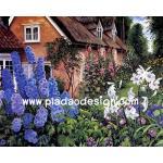 กระดาษสาพิมพ์ลาย สำหรับทำงาน เดคูพาจ Decoupage แนวภาพ บ้านพักฤดูหนาว ในดงดอกไม้สีสันสวยสดสบายตา อยู่แล้วสบายใจ A5