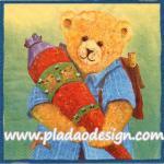 กระดาษสาพิมพ์ลาย สำหรับทำงาน เดคูพาจ Decoupage แนวภาพ หมี Teddy หมีชาย แบกเป้ถือหมอน พื้นหลังเหลืองเขียว A5