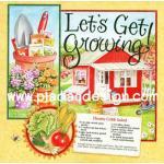 กระดาษสาพิมพ์ลาย สำหรับทำงาน เดคูพาจ Decoupage แนวภาำพ Let's Get Growing ปลูกผักทำสลัดกินเอง กับ สูตรทำสลัด Hearty cobb Salad สีสด (ปลาดาวดีไซน์) A5