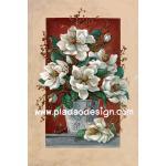 กระดาษสาพิมพ์ลาย สำหรับทำงาน เดคูพาจ Decoupage แนวภาพ ดอกไม้สีขาวในกระถาง ใหญ่มาก A5