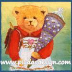 กระดาษสาพิมพ์ลาย สำหรับทำงาน เดคูพาจ Decoupage แนวภาพ หมี Teddy หมีหญิง แบกเป้ถือหมอน พื้นหลังเหลืองเขียว A5