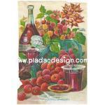 กระดาษสาพิมพ์ลาย สำหรับทำงาน เดคูพาจ Decoupage แนวภาพ Japanese Wineberry ลูกเบอร์รี่ญี่ปุ่น สีแดงสด น่ากิ๊นน่ากินเนอะ A5