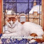 กระดาษสาพิมพ์ลาย สำหรับทำงาน เดคูพาจ Decoupage แนวภาพ แมวตัวขาว หัวกับหางสีน้ำตาล นอนบนพนักโซฟาริมหน้าต่าง A5
