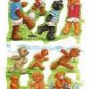 กระดาษตัดสำเร็จ ลายนูน ภาพเดี๋ยว แนววินเทจ เจ้าหมีน้อยเท็ดดี้แบร์ กับ หมีสีต่างๆ กับ กิจกรรม กีฬา ต่างๆ