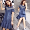 พร้อมส่ง DRESS JEAN FROM KOREA คอกลม