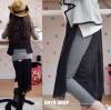 กางเกงกระโปรง เทห์ๆ กางเกงสีเทา +กระโปรงสีดำ สไตล์เกาหลี ผ้าเนื้อนุ่ม ใส่สบาย