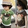 cisi เสื้อยืดเด็กคอกลม สีน้ำตาล ด้านหน้าสกรีนรูปหมีน่ารัก ใส่สบาย ไม่ร้อน น่ารัก สไตล์เกาหลี