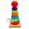 ของเล่นไม้ Rainbow Towe rบล็อคไม้สวมหลัก 7 ชั้
