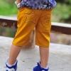 กางเกงสามส่วนเด็ก สีเหลือง  ตกแต่งด้วยรูปดาว Star Wars  เก๋ๆเทห์ๆ สไตล์ เกาหลี