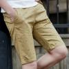 กางเกงขาสั้นแฟชั่นเกาหลี ลายก้างปลา : สีกากี